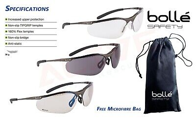 Bolle Contour Safety Glasses Metal Frame UV Protection Spectacles With Free Bag