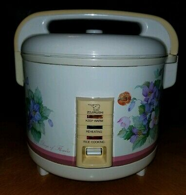 RARE VINTAGE ZOJIRUSHI 10 Cup DAYS of FLOWERS Rice Cooker Model NH-1803 Works