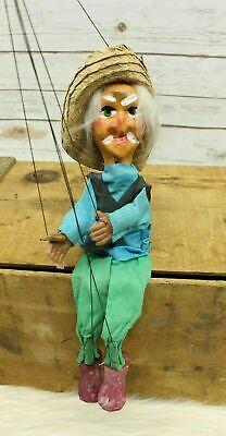 Vintage Marionette Puppet Mexican Dancing Man With Sombrero Clay Head