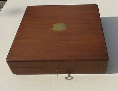 """Vintage Oak Wooden Empty Cutlery Box / Canteen - 12"""" Square with key"""