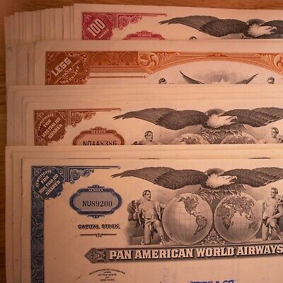 x27 Multiple Colors Pan American Airlines Pan Am stock certificate