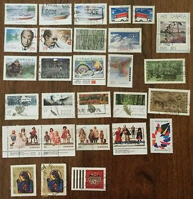 Canada 1990  28 Off Paper Different Used Stamps With 2 Sets & 2 Pairs