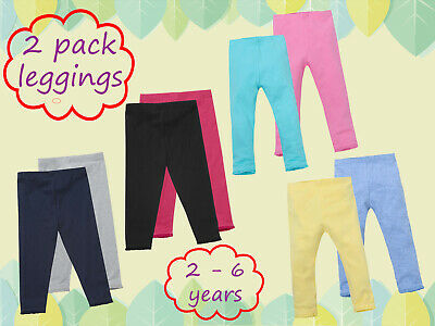 Girls 2 Pack Soft Stretch Cotton Leggings Plain Everyday Leggings With Lace Trim