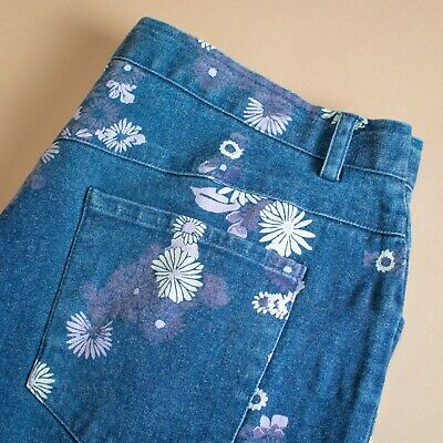 Vintage 90's Y2K Laura Kent High Waisted Floral Blue Jeans Women's W 31 L 28