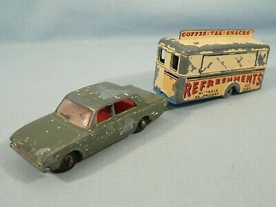 Matchbox MB45 FORD CORSAIR & MB74 MOBILE CANTEEN Die-Cast for Restoration 1960s