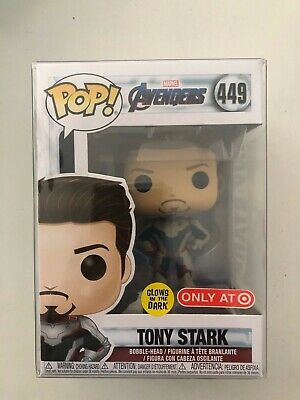 Funko POP Marvel Avengers Endgame Tony Stark #449 Target GITD Exclusive NEW
