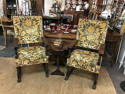 Antique Spanish Revival Highback Armchairs (pair) | 19th cen.