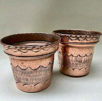 Vintage French Matching Pair Of Indoor Copper Small Flower Pots By Goardere