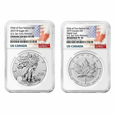 2019 Pride of Two Nations 2-Coin Set NGC PF 70 ER (Two Flags Label) W OGP