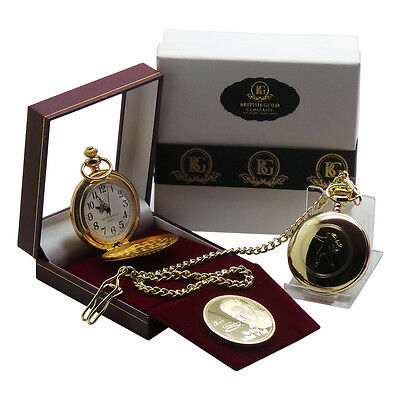 ELVIS PRESLEY Signed Pocket Watch and Gold Coin Collectors Luxury Gift Set Boxed