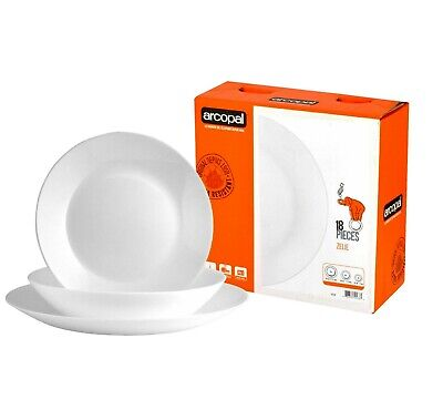 Arcopal Zellie 18 Piece White Dinner Set -Scratch Resistance-Dinner-Dessert-New