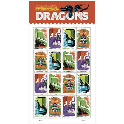 USPS Forever Postage Stamps 'Dragons' Full sheet of 16