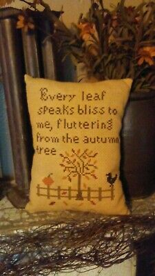 Primitive ~ Autumn Tree ~ Early Look Cross Stitch Pillow ~ Seasonal