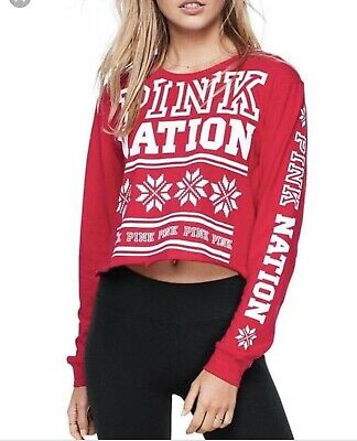NEW Victoria Secret Pink Holiday Crop Red Graphic Crop Women's Size XS Snowflake