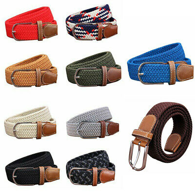 Unisex Mens Canvas Elastic Leather Pin Buckle Waist Belt Stretch Waistband
