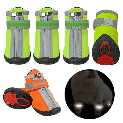 4pcs Waterproof Dog Shoes Reflective Non-Slip Pet Soft Liner Boots for Snow Rain