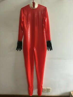 100% Latex Gummi Catsuit Rot Sexy Wetlook Overall Bodysuit Fixed Size XXL 0.4mm
