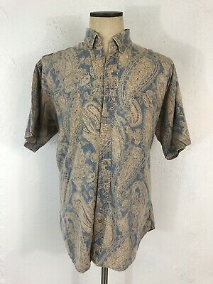VTG Chaps Ralph Lauren Boy Scout Label Mens Paisley Cotton Button Down Shirt L