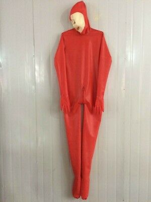 Latex 100% Rubber Sexy Wetlook Red Catsuit 0.4mm Gummi Overall Cosplay Bodysuit