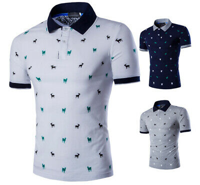 Men's Stylish Casual Shirts Slim Fit Short Sleeve Polo Shirt T-shirts UK