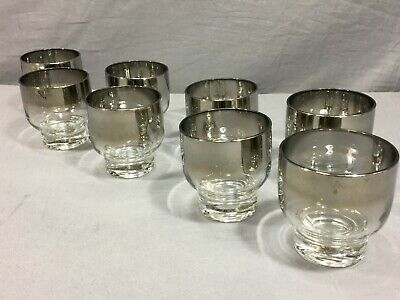 SET of (8) MCM Silver Fade Stackable Glasses Low Ball Rocks Dorothy Thorpe Style