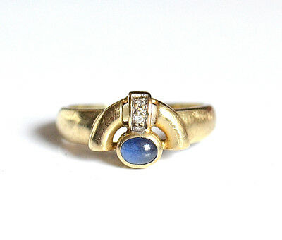 Goldring Ring Gold 333 (8K) - Cabochon Saphir Diamant  - Ø 16,5 mm - 2,6  g