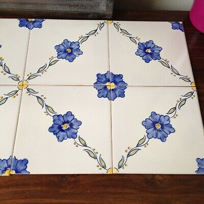 Vintage Hand Painted Portuguese Azupal Pombal Wall Tiles, Set of 8