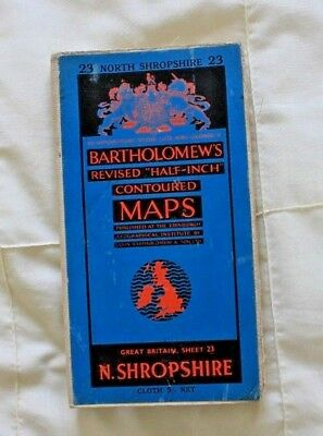 1910-1941 Antique Bartholomew's half inch map - GB sheet 23 N. Shropshire