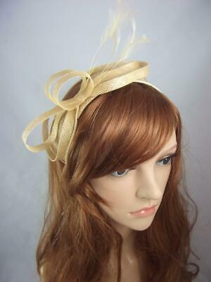 Gold Sinamay Loop & Leaf Fascinator with Feathers - Ascot Wedding Races