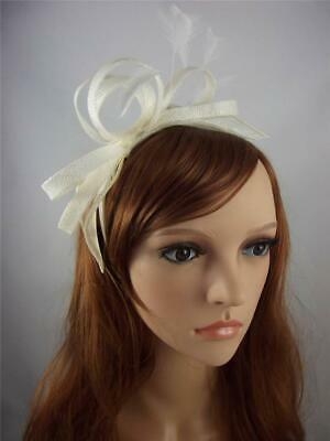 Ivory Cream Sinamay Loop & Leaf Fascinator with Feathers - Ascot Wedding Races
