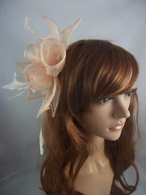 Nude Pink Rose Comb Fascinator with Feathers - Ascot Wedding Races