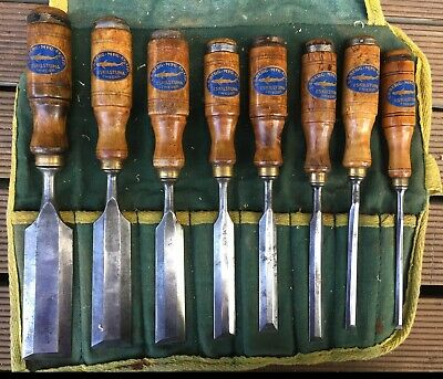 Set of 8 Vintage EA Berg Swedish Woodworking Chisels Canvas Roll Repro Decals