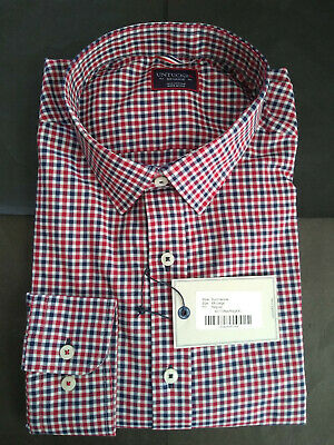 NWT UNTUCKit Blue White Red Check Point Collar USA 17.75-35 XXL MSRP $108