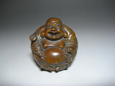 Japanese Netsuke Wooden Artworks Wood Carving Hotei Very Rare From Japan F/S D4