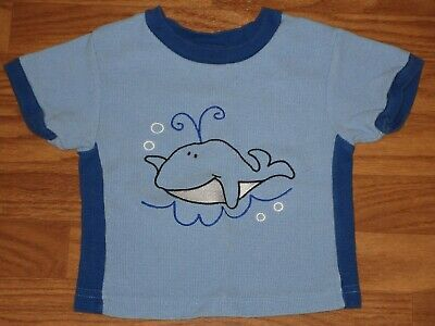 Okie Dokie -Baby Boy Size 18 Months- WHALE Short Sleeve Shirt Top Blue GUC