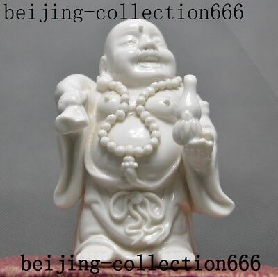 "5""old China Dehua White porcelain Buddhism laughter maitreya Buddha statue"
