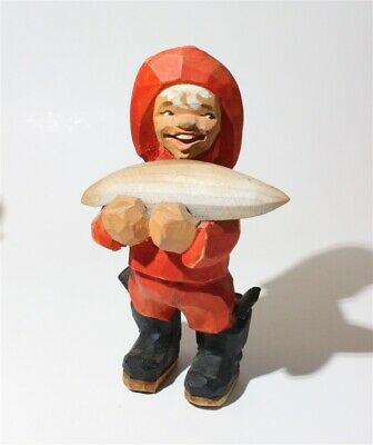 """Henning Norway Wooden Hand Carved Boy Large Fish Man Wood Figurine 5 1/2"""" Red"""