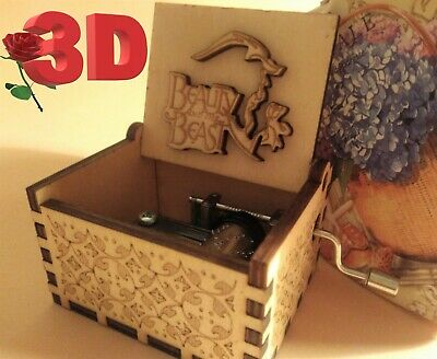 The Beauty and the Beast Music Box 3D Theme Music Chest Wooden Engraved Handmade