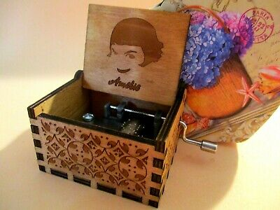 Amelie Music Box Theme Music Chest Wooden Engraved Handmade Vintage Gift