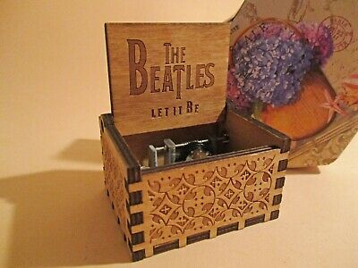 Beatles LET IT BE Music Box Theme Music Chest Wooden Engraved Handmade Vintage G