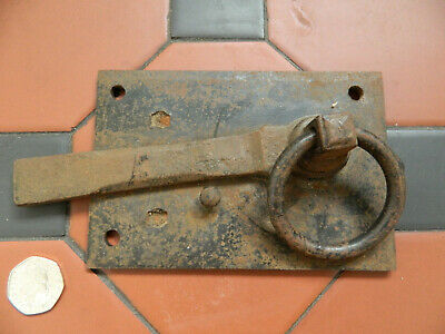 Antique Vintage Original Heavy Wrought Iron Door Gate Latch Lock
