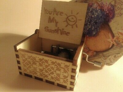 You Are My Sunshine Music Box Theme Music Chest Wooden Engraved Handmade Vintage
