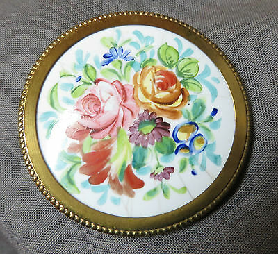 Jewel Antique/Brooch Porcelain Painted Hand Monte on Metal Dore 20 53rd