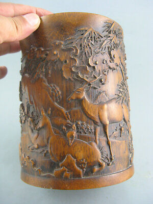 Antique Chinese Old Bamboo Hand Carved Landscape Tree Bamboo Deer Brush Pot