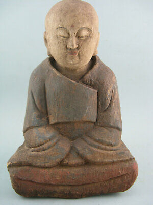 "9"" Antique Chinese Old Wood Hand-Carved Monk Statue"