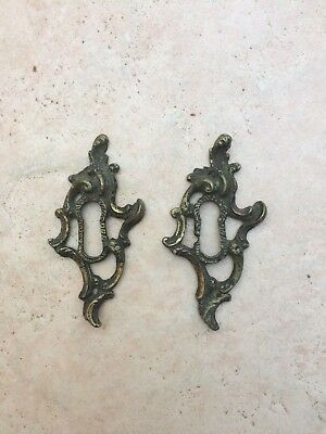 Pair of Antique French Brass Escutcheons