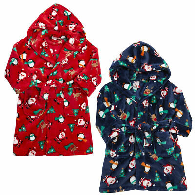 Baby Boys Girls Xmas Santa Penguin Hooded Fleece Bath Robe Novelty Dressing Gown
