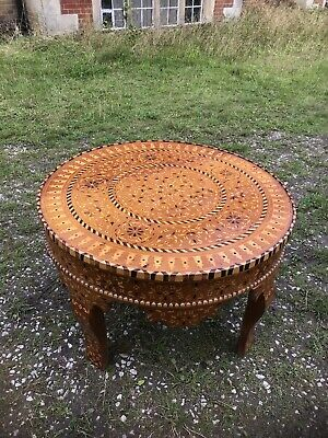 Fine Burmese Circular Marquetry Inlaid Centre Table