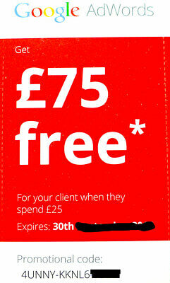 £75 Gift Card Google Ads (Adwords) Free Credit LIMITED TIME ⭑⭑⭑⭑⭑