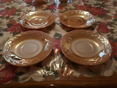 Fire King  Peach Lustre Saucers Set Of 4